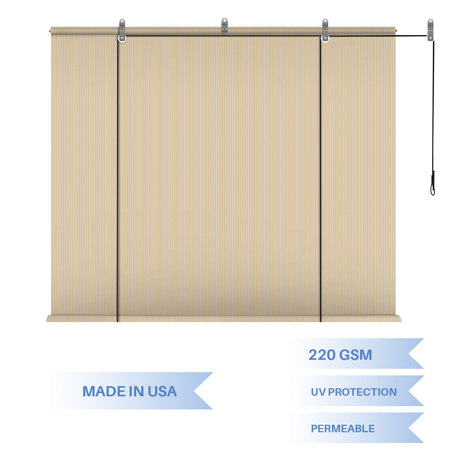 Roller Pull up Outdoor Beige Shades Patio Blinds Deck Sun Sc